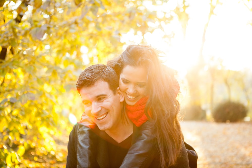 Beautiful couple having a romantic laugh