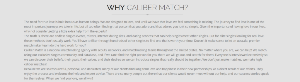 Caliber Match Matchmaking Service Review [year] - Is It Good? 5